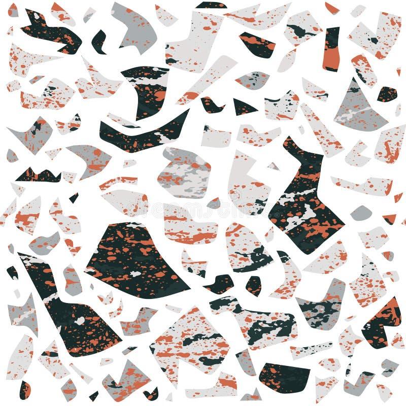 Sömlös modell för vektorterrazzo, vägg- bakgrund med kaotiska fläckar royaltyfri illustrationer