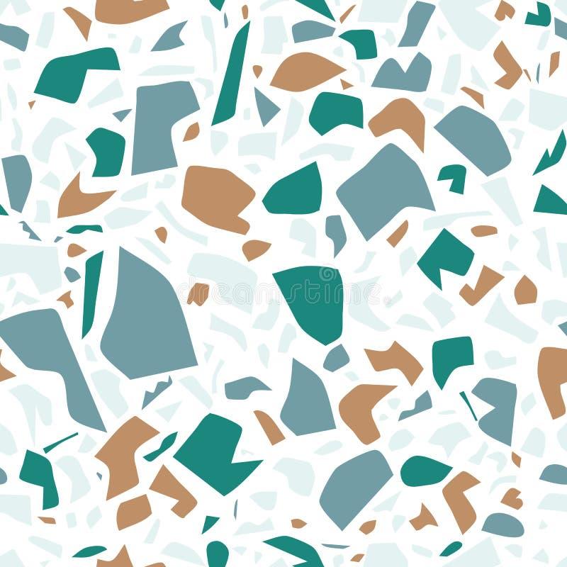 Sömlös modell för vektorterrazzo, vägg- bakgrund med kaotiska fläckar vektor illustrationer