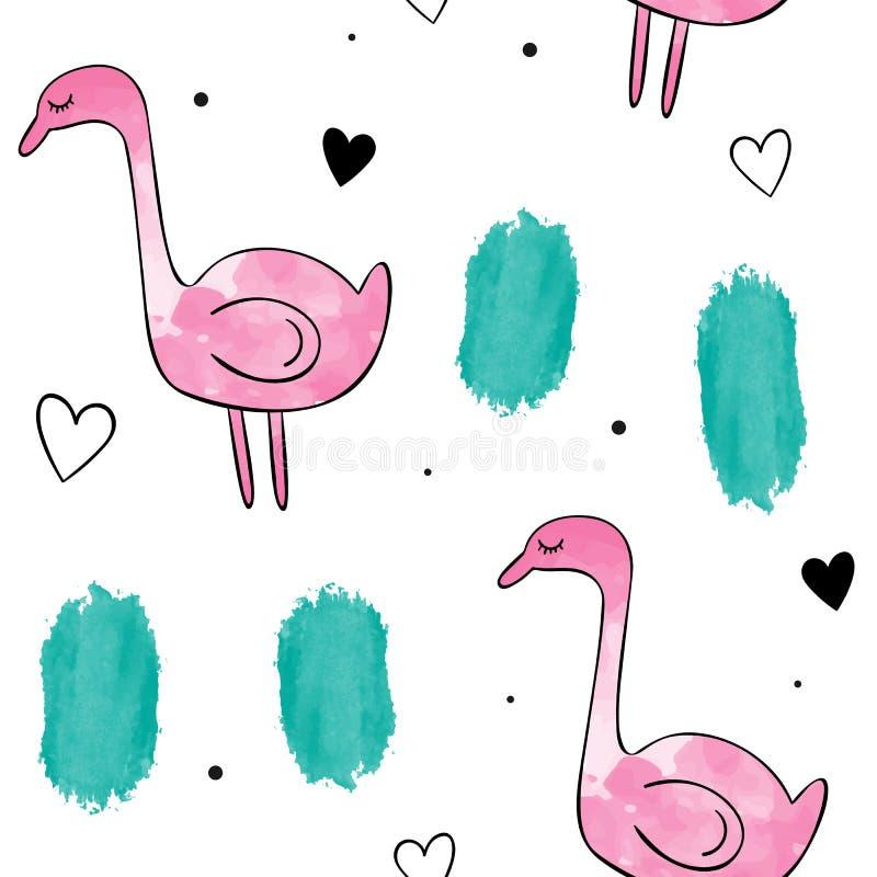 Sömlös modell för vektorvattenfärg Rosa Flamingo vektor illustrationer