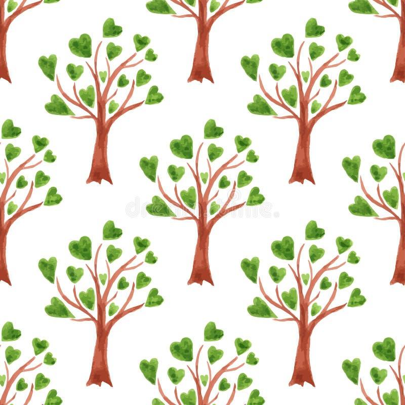 Sömlös modell för vektorvattenfärgträd Träd med sidor i hjärtor stock illustrationer
