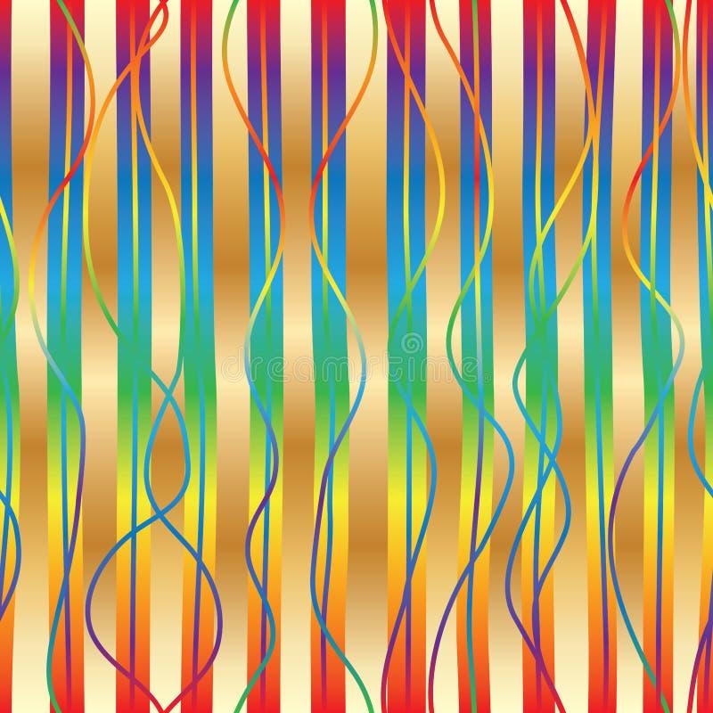 Sömlös modell för vertikal stil för lutningregnbåge guld- royaltyfri illustrationer