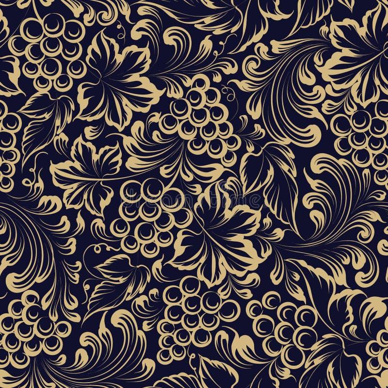 Sömlös modell för vinranka för packedesign Guld- bakgrund för gammal stil med druvabär och sidor royaltyfri illustrationer