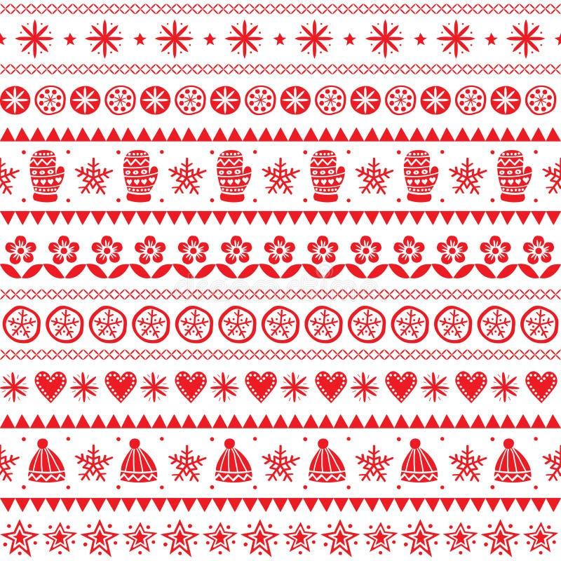Sömlös modell för vinterfolkkonstvektor, för röd utdragen stil prydnadhand för jul, retro bakgrund på vit royaltyfri illustrationer