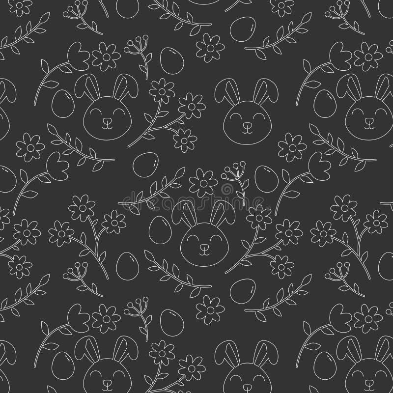 Sömlös modell för vit översikt med den easter kaninen, blommor och ägg royaltyfri illustrationer
