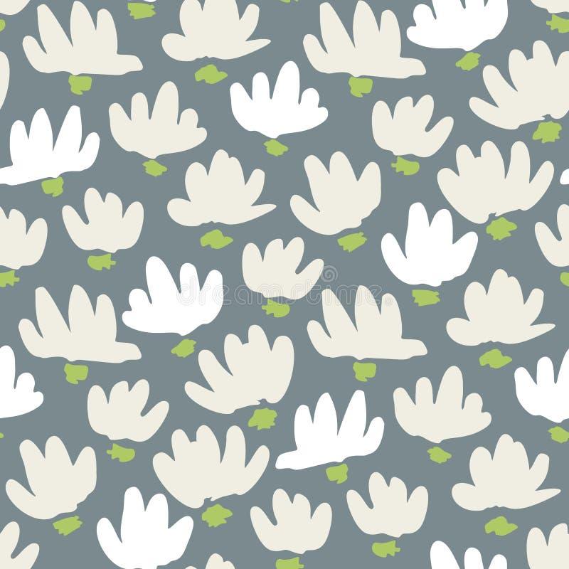Sömlös modell för vit abstrakt Gestural vektor för blommahuvud Enkla rena blom- Backrgound Snödroppe lilja royaltyfri illustrationer