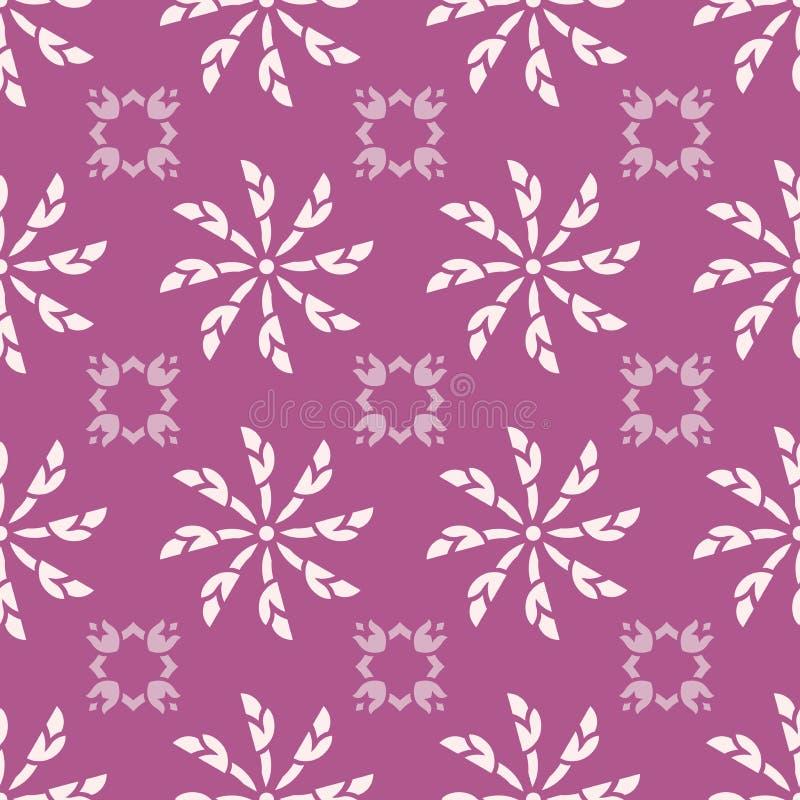Sömlös modell för vit blom- vektor med rosa färgbakgrund royaltyfri illustrationer