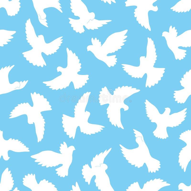 Sömlös modell för vita duvor på en blå bakgrund stock illustrationer