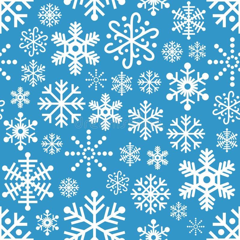 Sömlös modell för vita snöflingor på blått vektor illustrationer