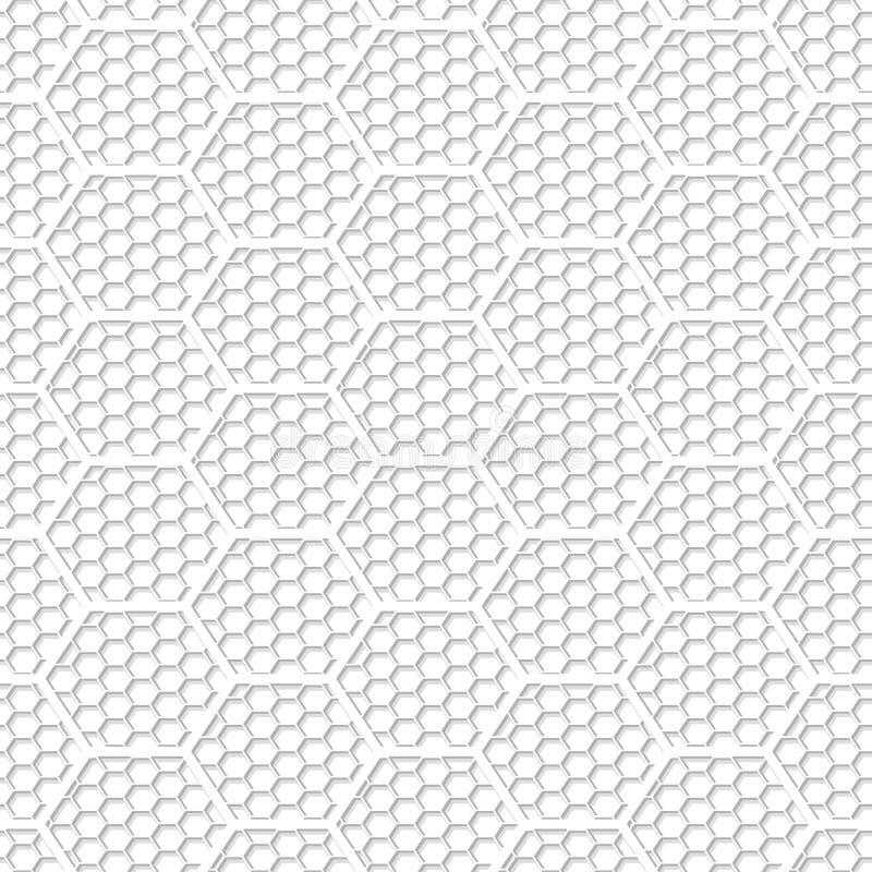 Sömlös modell för vitt sexhörningsabstrakt begreppingrepp vektor illustrationer