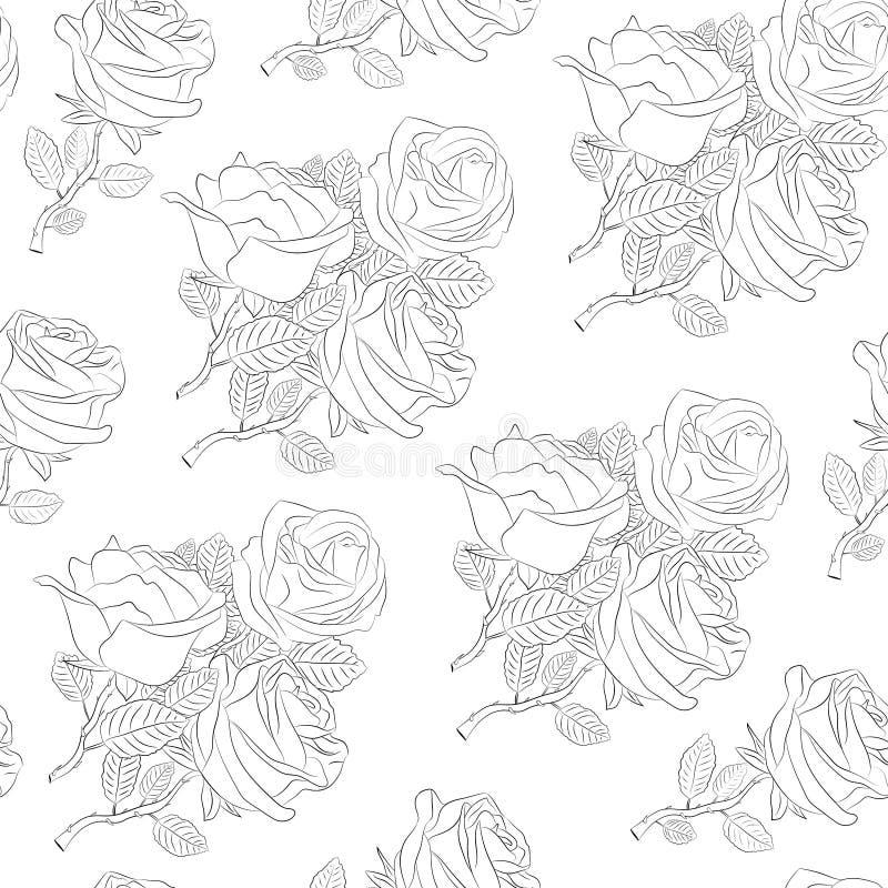Sömlös modell från buketter av rosor På en vit bakgrund strömkrets retro stil vektor illustrationer