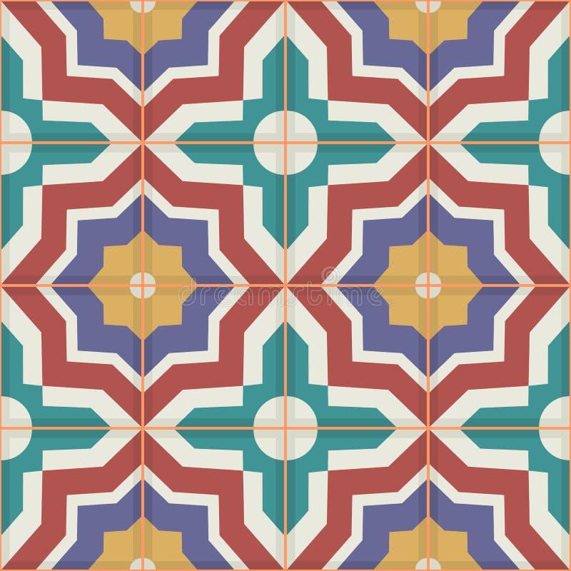 Sömlös modell från färgrika marockanska tegelplattor, prydnader stock illustrationer