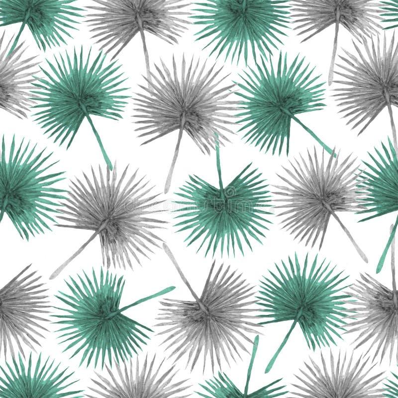 Sömlös modell från fanpalmblad vektor illustrationer