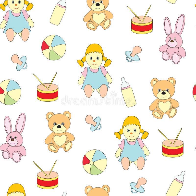 Sömlös modell från leksaker för ungar En vektorbild med en boll, en docka, en attrapp för behandla som ett barn` s, en hare, en b vektor illustrationer