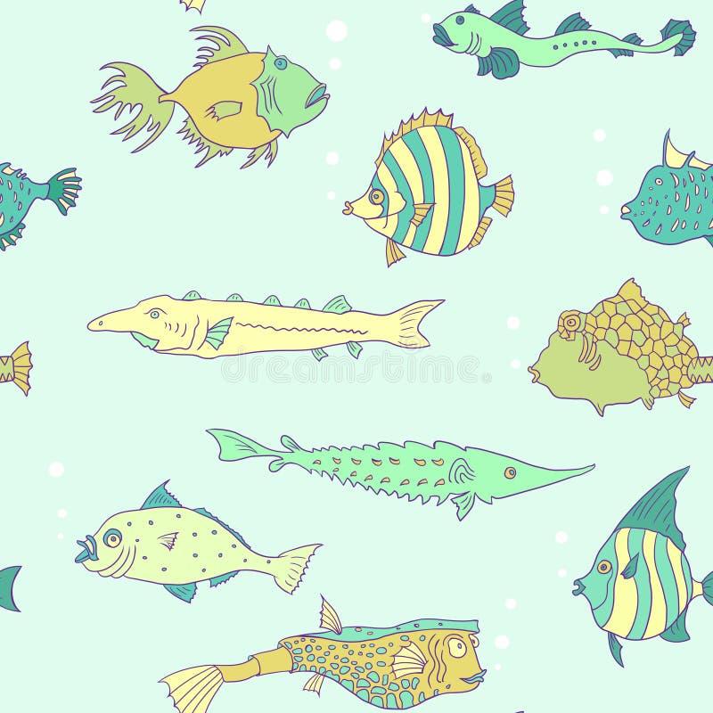 Sömlös modell från tropisk fisk royaltyfri illustrationer