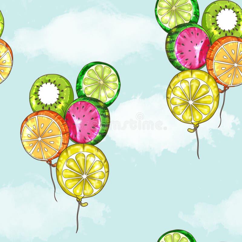 Sömlös modell - frukt sväller flyg i blå himmel royaltyfri illustrationer
