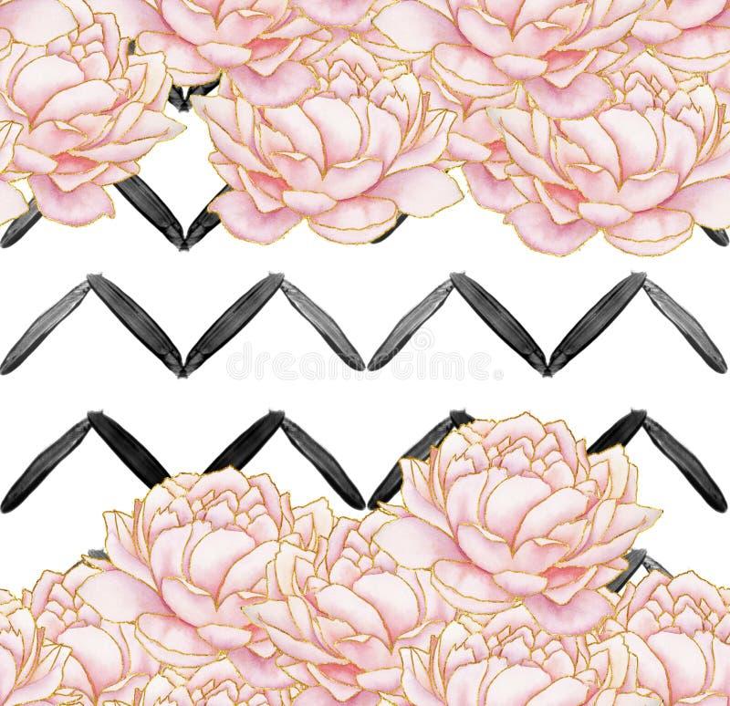 Sömlös modell - geometriska svartband med rosa pioner på vit bakgrund stock illustrationer