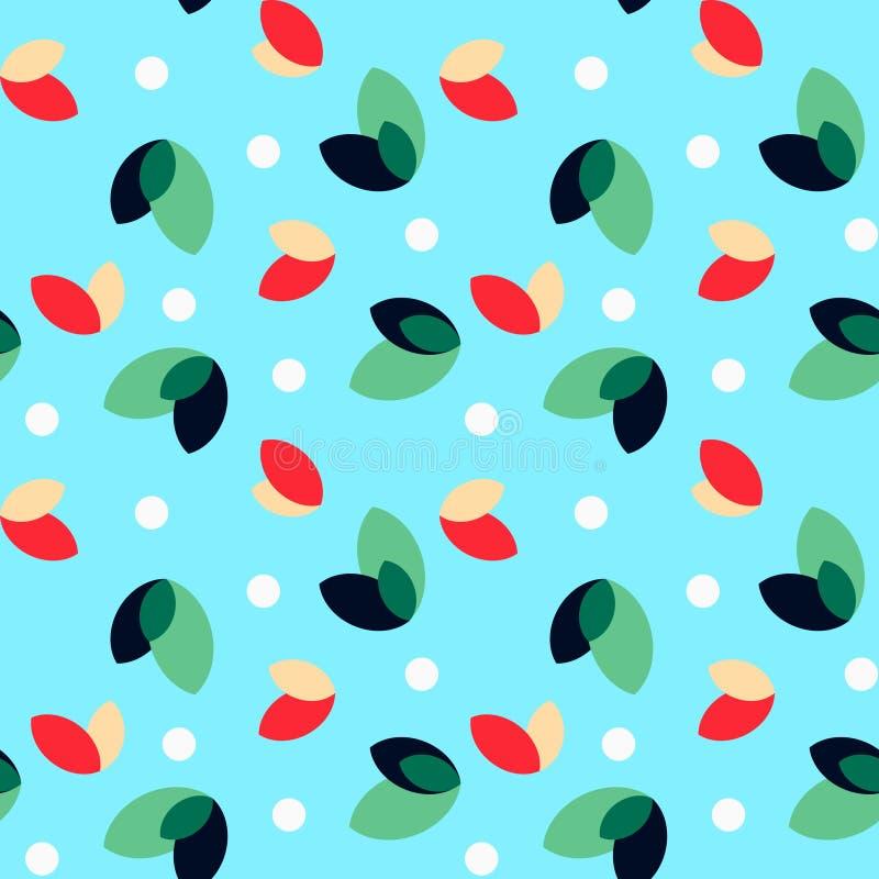 Sömlös modell: Gräsplan och röda sidor och vitprickar vektor illustrationer