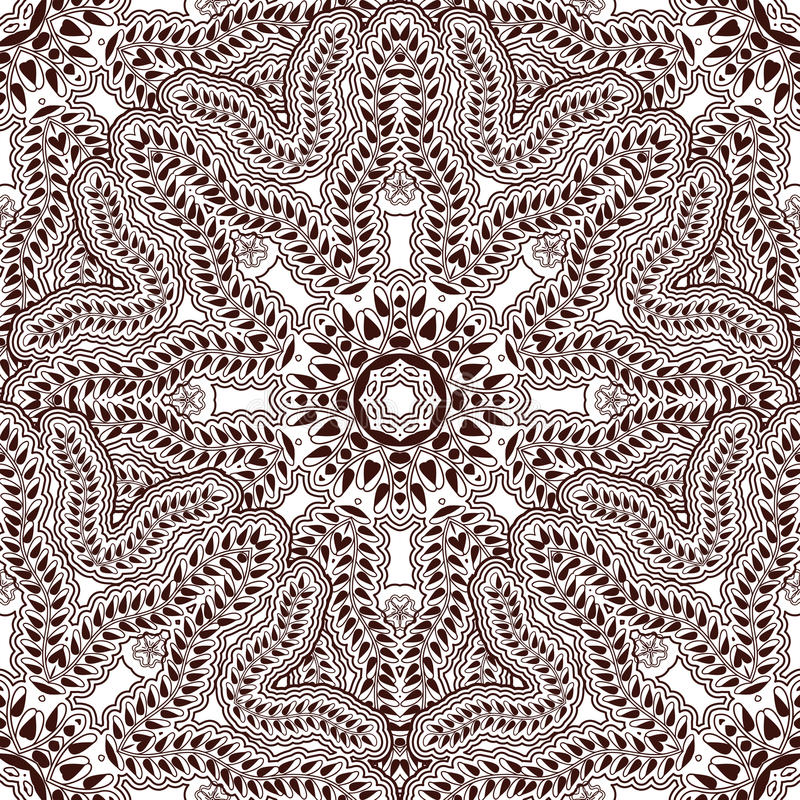 Sömlös modell i den indiska stilkroppen som målar Mehndi Asiatisk bakgrund med blom- prydnader royaltyfri illustrationer