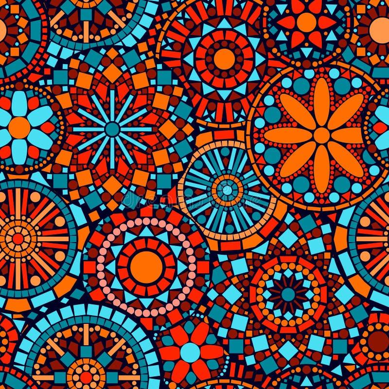 Sömlös modell I för färgrika cirkelblommamandalas stock illustrationer