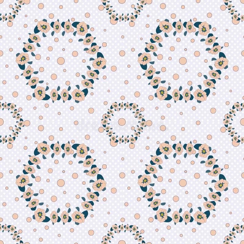 S?ml?s modell i moderiktiga f?rger p? vita bl?tt in i en burbakgrund med dammiga rosa prickar Virvlar fr?n rosaaktiga blommor stock illustrationer