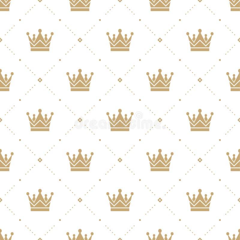 Sömlös modell i retro stil med en guld- krona på en vit bakgrund Kan användas för tapeten, modellpåfyllningar, rengöringsduk royaltyfri illustrationer