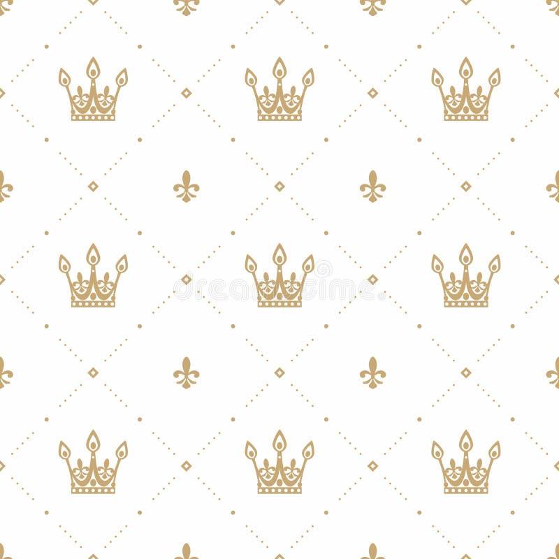 Sömlös modell i retro stil med en guld- krona på en vit bakgrund Kan användas för tapeten, modellpåfyllningar, rengöringsduk vektor illustrationer