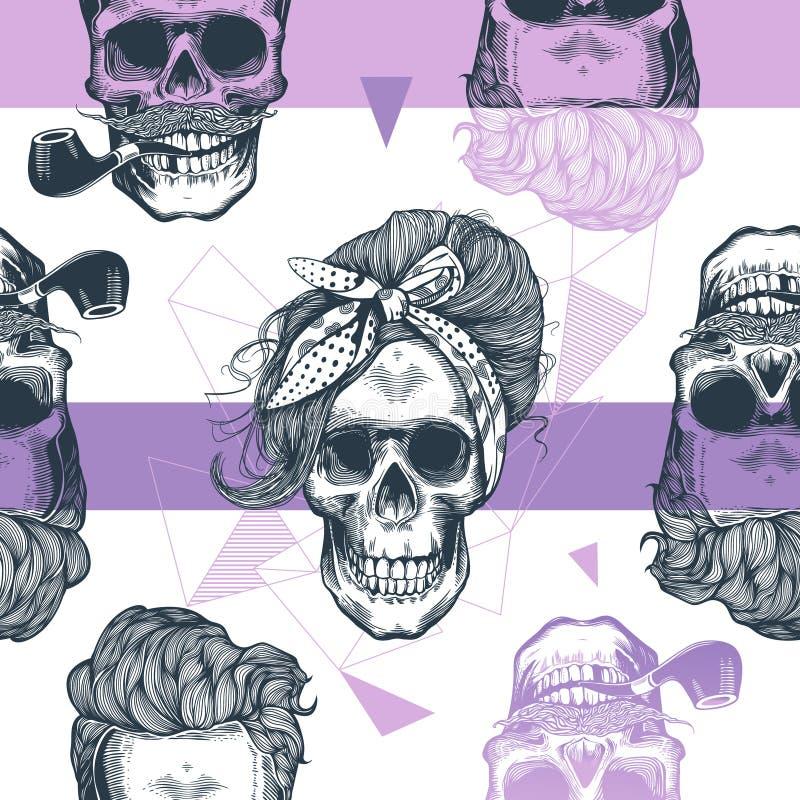 Sömlös modell i stil för popkonst med skelett- kvinnors huvud, modehalsduken och frisyren, mot triangel och lilor royaltyfri illustrationer