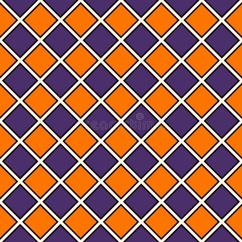Sömlös modell i traditionella färger för allhelgonaafton Upprepad diamantbakgrund Schackbrädetapet stock illustrationer
