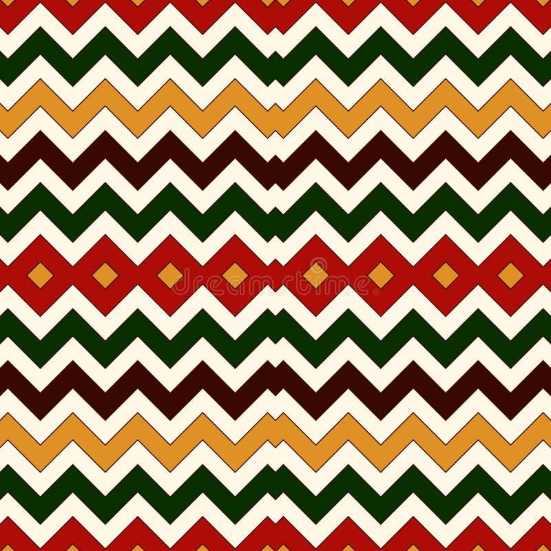 Sömlös modell i traditionella färger för jul Linjer bakgrund för ljusa färger för sparresicksack horisontal stock illustrationer