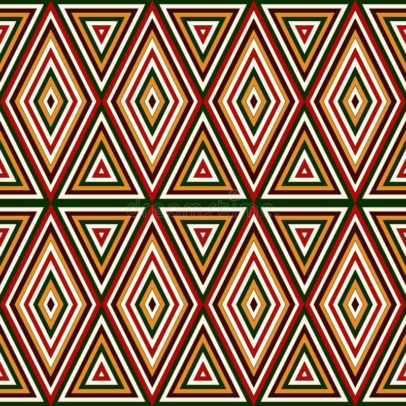 Sömlös modell i traditionella färger för jul Ljus dekorativ abstrakt bakgrund Etniska och stam- motiv stock illustrationer