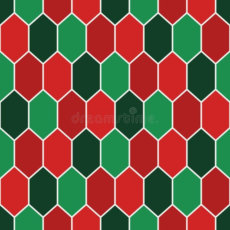 Sömlös modell i traditionella färger för jul med diamantraster Sköldpaddaskalmotiv Honungskakatapet royaltyfri illustrationer