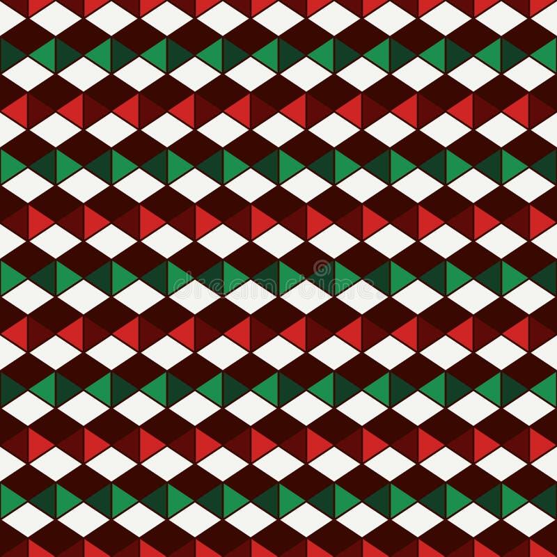 Sömlös modell i traditionella färger för jul med polygontessellation Geometriskt digitalt papper royaltyfri illustrationer