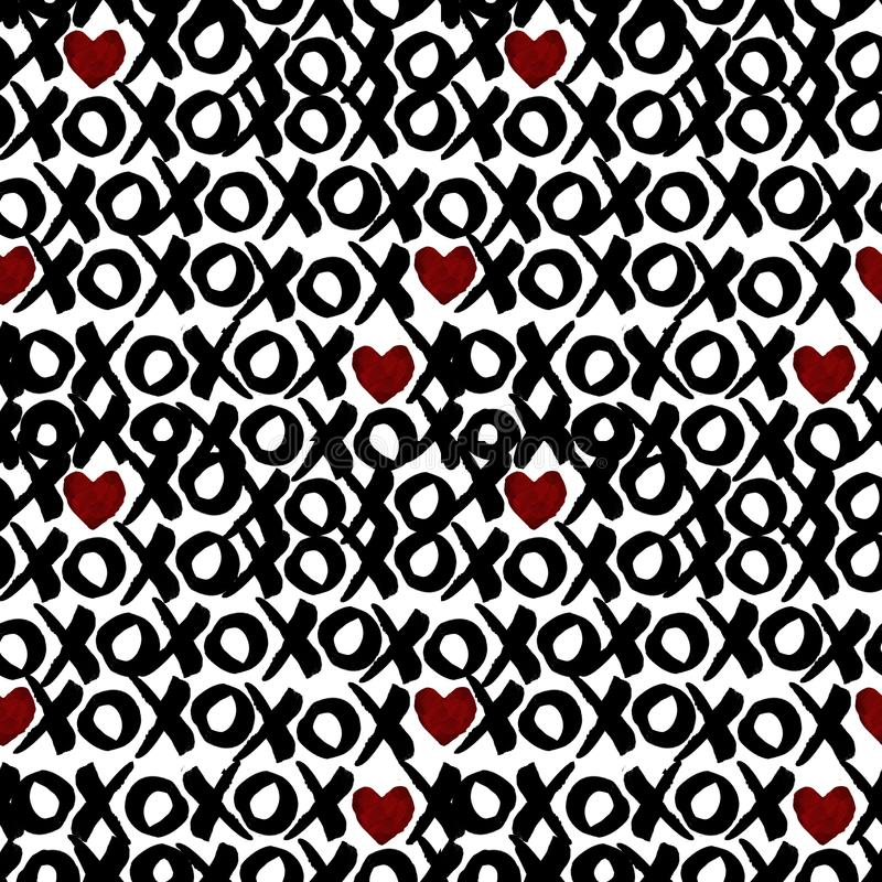 Sömlös modell i vattenfärgborsteeffekt - XoXo valentinbakgrund royaltyfri illustrationer