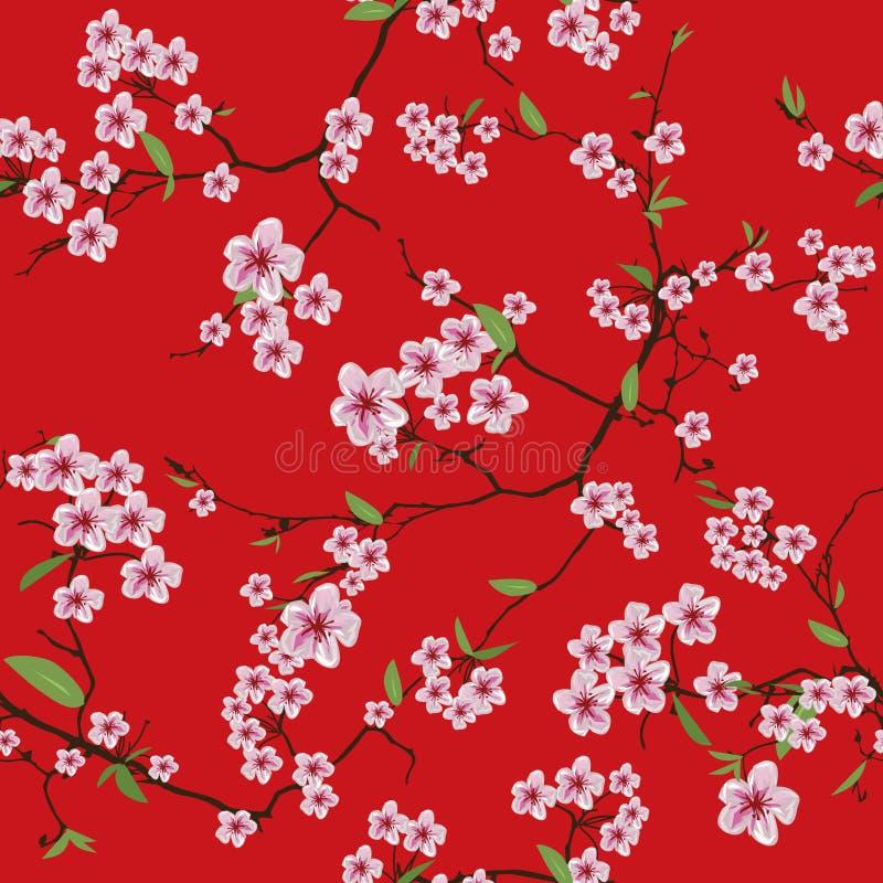 Sömlös modell kinessakura för röd kimono stock illustrationer