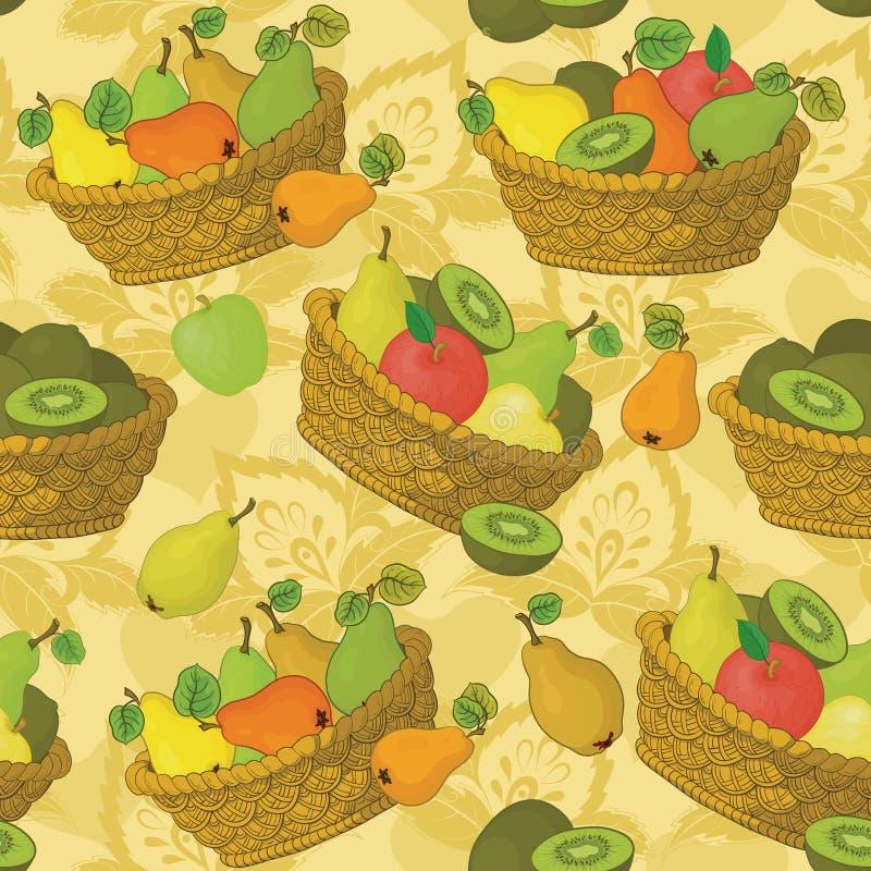 Sömlös modell, korgar och frukter stock illustrationer