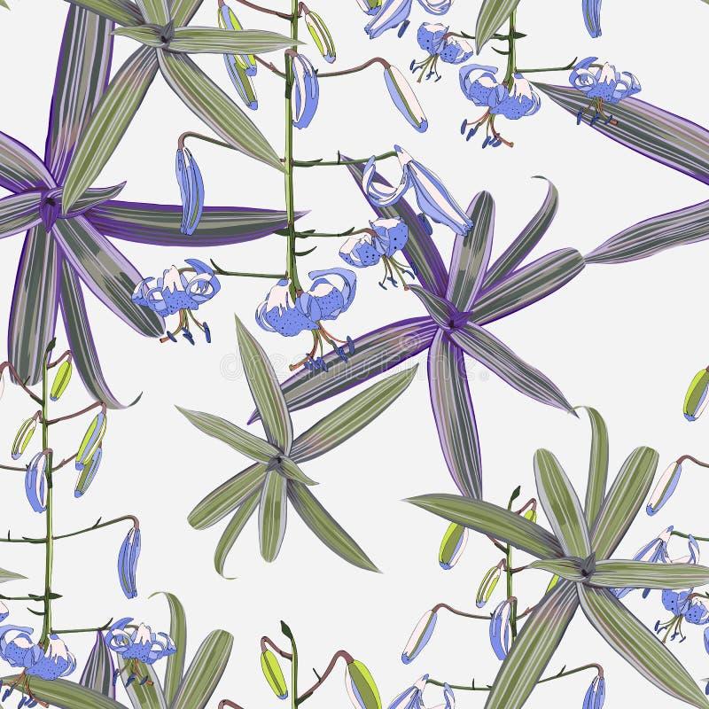 Sömlös modell, liljablommor och gröna exotiska växter på ljus bakgrund stock illustrationer