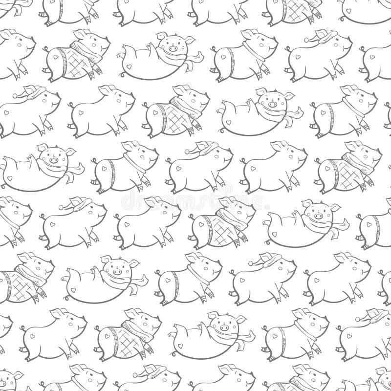 Sömlös modell med älskvärda gulliga gladlynta piggies Vinterbakgrund i utdragen stil för hand vektor illustrationer