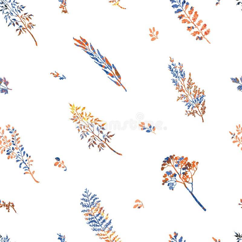 Sömlös modell med örter, växter och blommor royaltyfri illustrationer