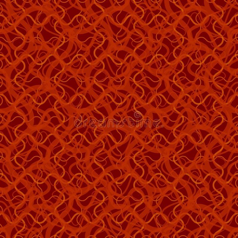 Sömlös modell med abstrakt ojämnt krabbt rött raster på svart bakgrund stock illustrationer