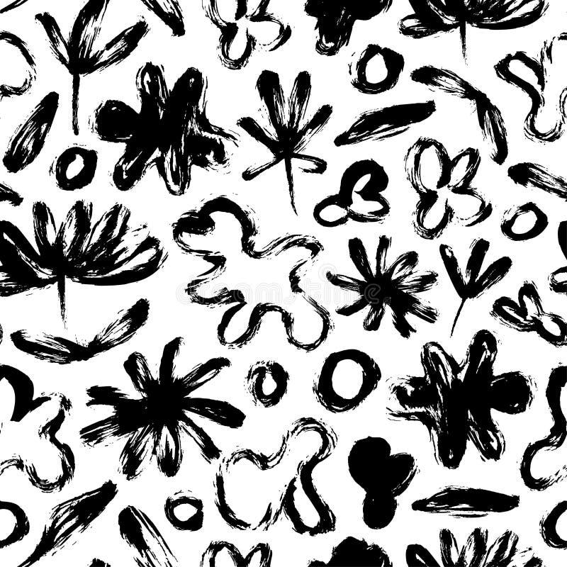Sömlös modell med abstrakta blommor, sidor och amorf former Organisk textur för vektorgrunge stock illustrationer