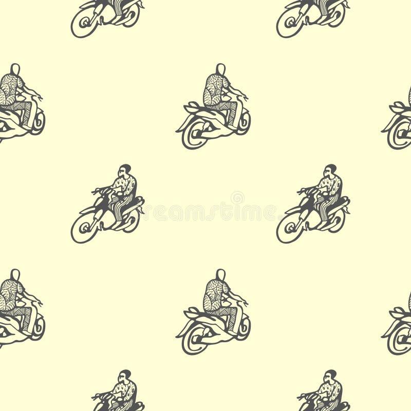 Sömlös modell med afrikanska motorcyklar och chaufförer i traditionell kläder vektor illustrationer