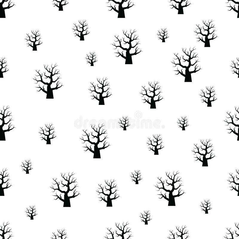 Sömlös modell med allhelgonaaftonträdet på vit bakgrund royaltyfri illustrationer