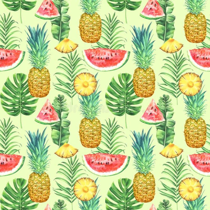 Sömlös modell med ananors, vattenmelon och tropiska sidor på grön bakgrund Tropisk vattenfärgillustration royaltyfri illustrationer