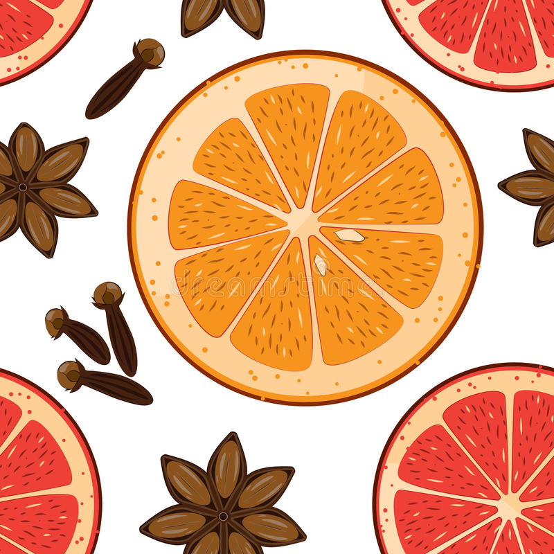 Sömlös modell med anisstjärnan, apelsin och graipfruitskivor och kryddnejlika Vektorjul belade med tegel bakgrund Textur för inpa vektor illustrationer