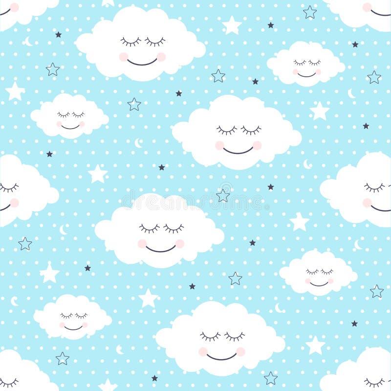 Sömlös modell med att le sova moln och stjärnor royaltyfri illustrationer