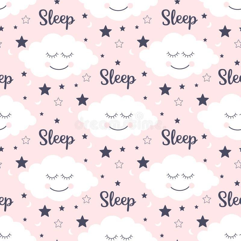 Sömlös modell med att le sova moln och stjärnor stock illustrationer