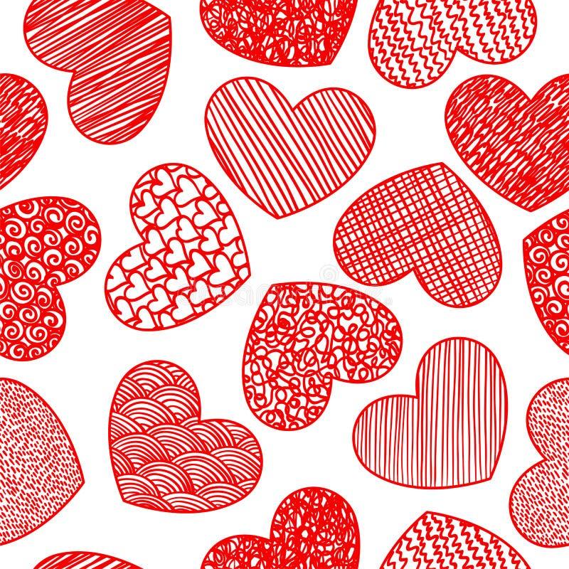 Sömlös modell med att skissa hjärtor stock illustrationer