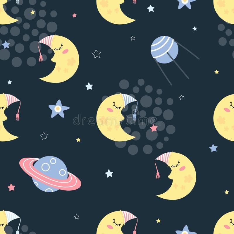 Sömlös modell med att sova månen vektor illustrationer