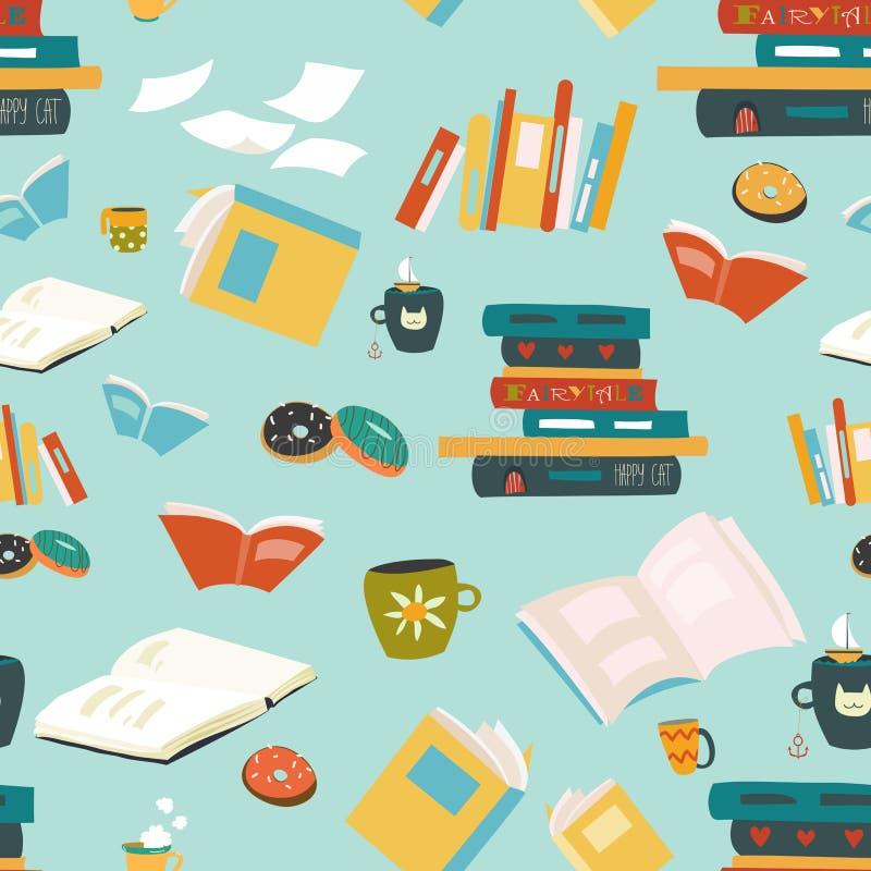 Sömlös modell med böcker royaltyfri illustrationer