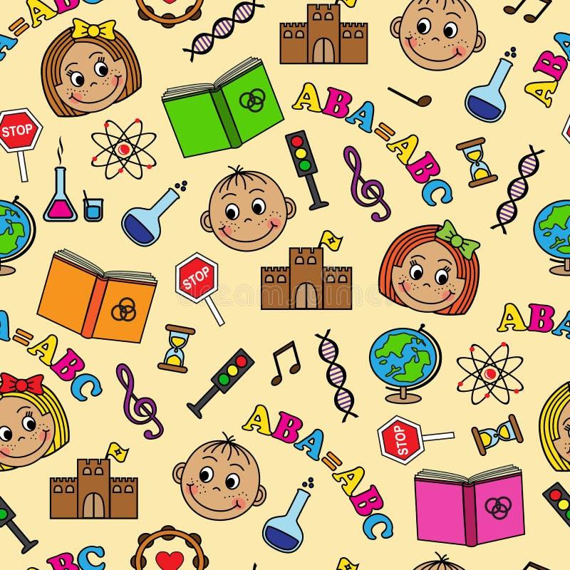 Sömlös modell med barn och skolasymboler royaltyfri illustrationer